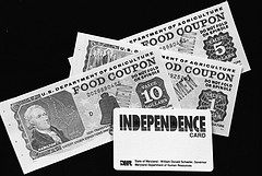 In 1990, the U.S. Department of Agriculture's (USA) Food Nutrition Service (FNS) issued some of the first Electronic Benefit Transfer (EBT) cards in the state of Maryland. Photo courtesy of National Archives and Records Administration.